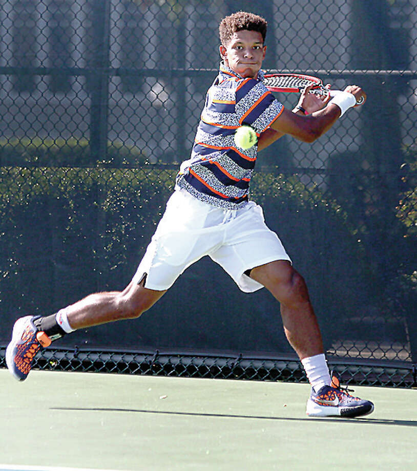 Last year's Bud Simpson Open Julian Childers hits a shot during play in last summer's USTA Futures Tourney at Lewis and Clark Community College. The Simpson Open is set for June 24-26 at LCCC Photo: LCCC File Photo