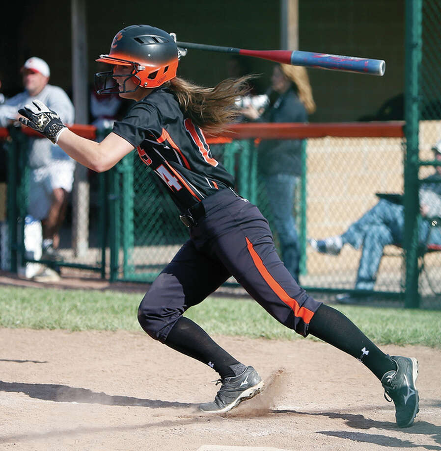 Edwardsville's Rachel Anderson raps out a single in a SWC victory over the Alton Redbirds on May 5 in Edwardsville. A four-year starter, Anderson hit .543 with 44 RBI as a senior and will play Division I college softball at Southeast Missouri. Photo: Scott Kane / For The Telegraph