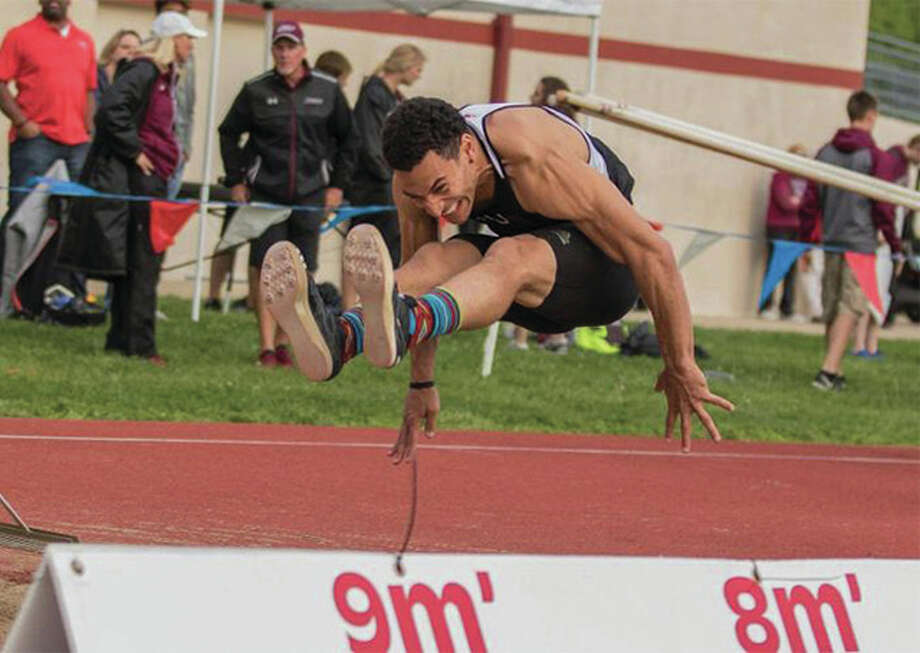 SIUE's Julian Harvey, a junior from Edwardsville, went 24 feet, 6.25 inches in the long jump to finish 11th at the NCAA Championships in Eugene, Ore. The finish earns Harvey status as a second-team All-American. Photo: SIUE Athletics