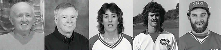 Individuals in the 2016 SIUE Athletics Hall of Fame class include (from left) Dr. Robert Bruker (special recognition), Ed Huneke (men's soccer head coach), Nancy Swain (women's basketball/softball), Matt Malloy (men's soccer) and Tom Ritzheimer (baseball). The teams inducted this year are the 1977 baseball and men's soccer team. Photo: SIUE Athletics