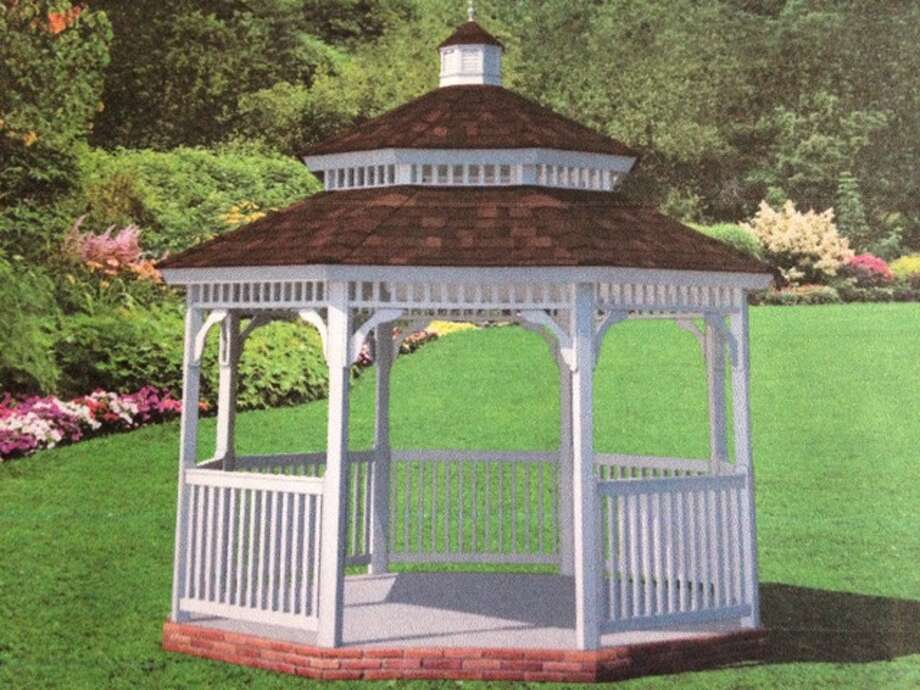 The Oriental Garden Committee is purchasing this style of vinyl gazebo to replace the aging structure in Gordon F. Moore Community Park, however its roof will be red. Submitted art.