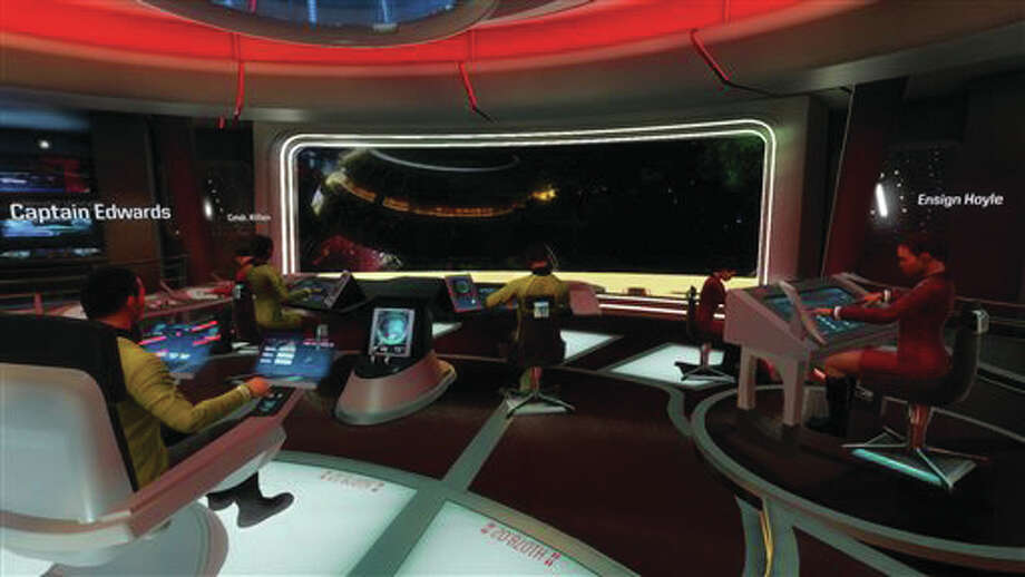 "This photo provided by Ubisoft & Celebrity Pre-E3 shows an image from ""Star Trek: Bridge Crew,"" the sci-fi franchise's first-ever virtual reality game. ""Bridge Crew"" will be unveiled Monday, June 13, 2016 at the Electronic Entertainment Expo."
