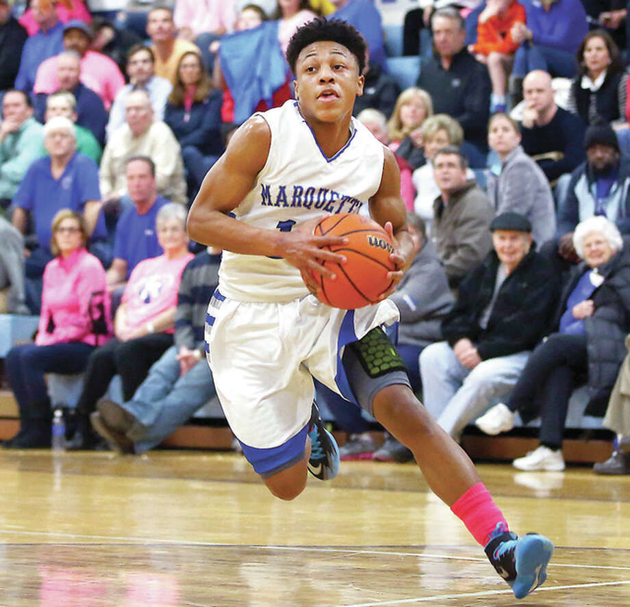 Marquette's Shandon Boone scored 33 points and was named the South team's Most Valuable Player at Saturday night's IBCA Class 1A/2A All-Star Game in Pontiac. Photo: Billy Hurst File Photo | For The Telegraph