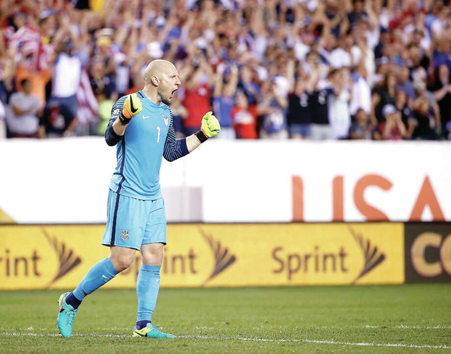 United States' Brad Guzan celebrates after winning a Copa America Group A soccer match against Paraguay Saturday in Philadelphia. Photo: Matt Rourke | AP Photo
