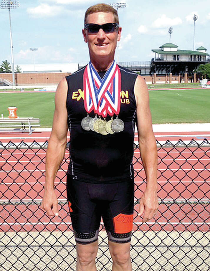 Mike Young of Wood River has already captured three gold medals and eight silver medlas in a pair of track meets this summer. He's ahead of last year's pace which saw him win 31 medals in all. Photo: Submitted Photo