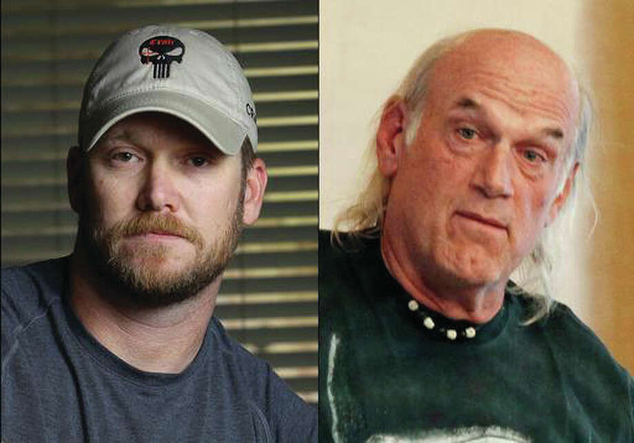 "This combination of file photos shows Chris Kyle, left, former Navy SEAL and author of the book ""American Sniper,"" on April 6, 2012, and former Minnesota Gov. Jesse Ventura, right, on Sept. 21, 2012. A federal appeals court has thrown out a $1.8 million judgment awarded to Ventura, who says he was defamed in the late author Chris Kyle's bestselling book ""American Sniper."""
