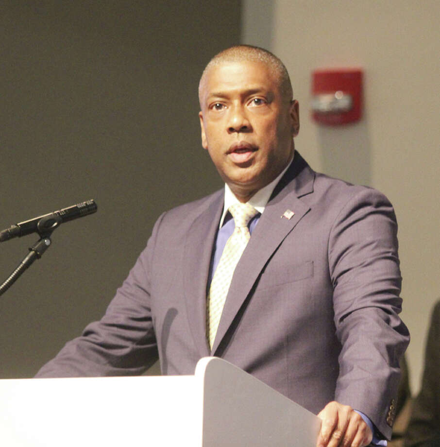Alton School District Superintendent Kenneth Spells speaks during the recent Urban League dinner at Lewis and Clark Community College. Spells will be going to the South Bend Community School District as its new superintendent.