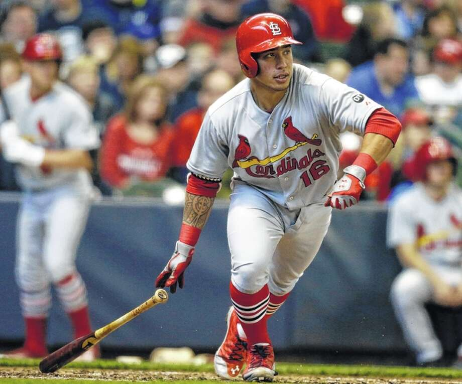 The Cardinals recalled Kolten Wong (above) from Triple-A Memphis on Friday and optioned Jeremy Hazelbacker to Memphis. Photo: AP File Photo