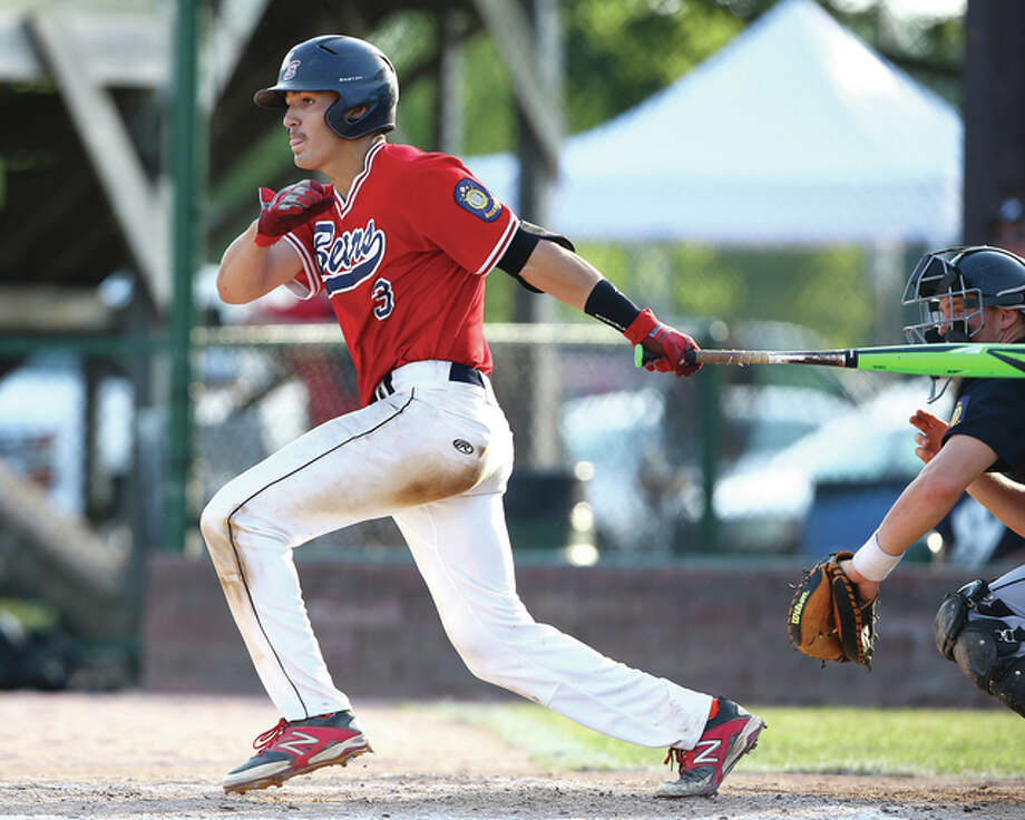 Metro East's Drake Hampton was 2 for 3 in his team's 14-2 win over Rock Memorial Sunday. In the Bears' opening loss to Eureka in nine innings, Hampton had a pair of RBIs. Photo: Billy Hurst File Photo | For The Telegraph