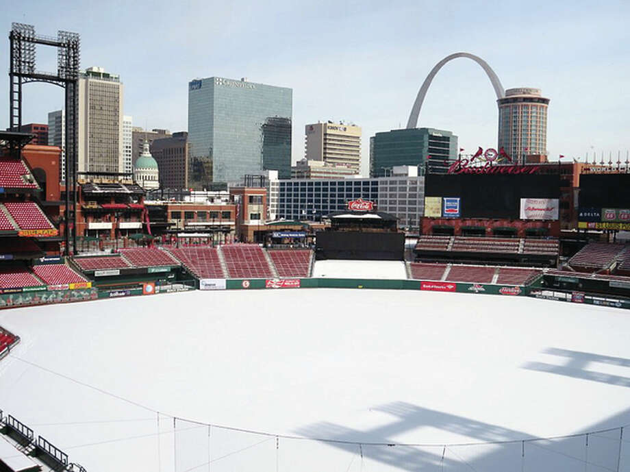 Busch Stadium in St. Louis will be the site of an outdoor hockey game between the St. Louis Blues and the Chicago Blackhawks on Jan. 2. Photo: AP