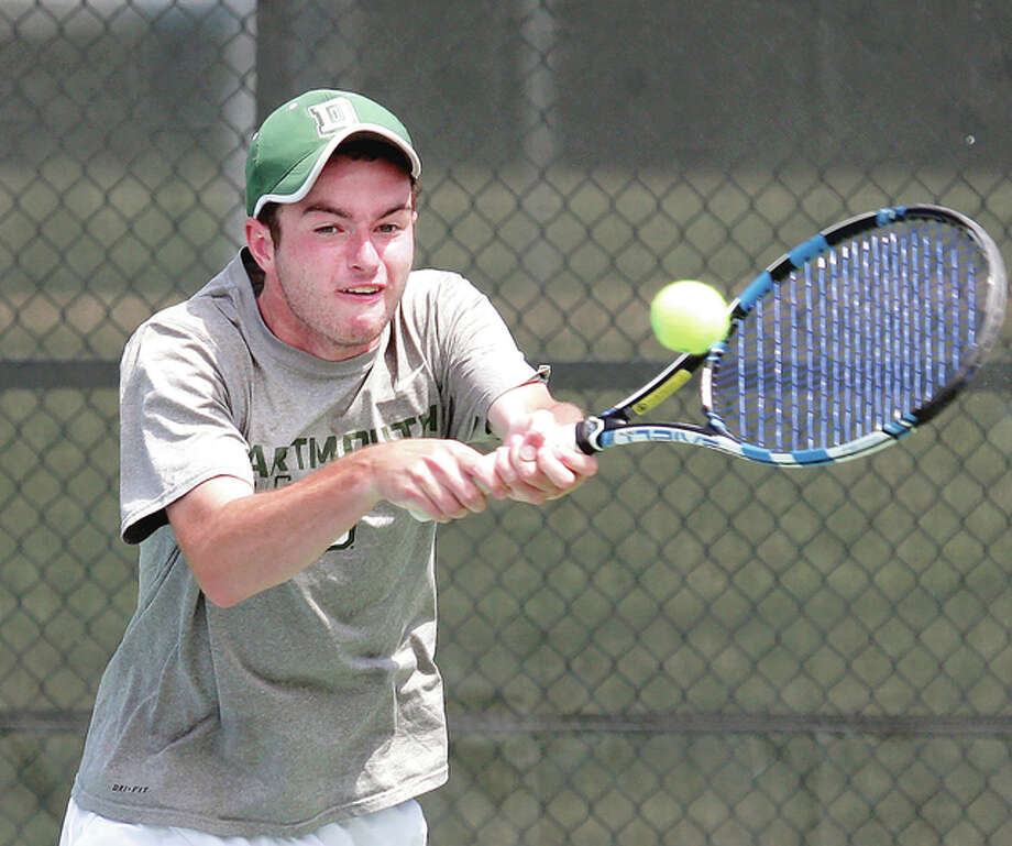 No. 1 seed Eddie Grabill makes a return against Brendan Goldacker in round-of-16 action Saturday at the 34th annual Bud Simpson Open tennis tournament at Lewis and Clark Community College. Grabill, who plays at Dartmouth, University, won the match 6-1, 6-0. Photo: James B. Ritter | For The Telegraph