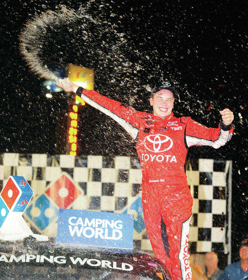 Christopher Bell celebrates his win in Saturday night's NASCAR Camping World Truck Series Drivin' for Linemen 200 at Gateway Motorsports Park in Madison. Photo: Michael Allio, NASCAR