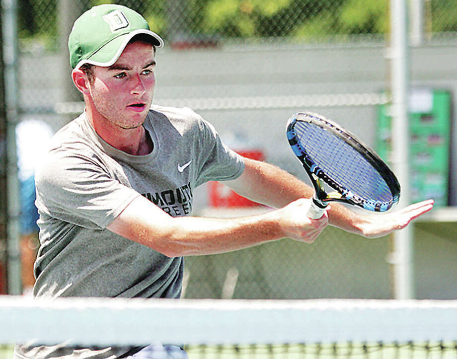 Top-seeded Eddie Grabill captured the Men's Open singles title at the 34th annual Bud Simpson Open tennis tournament Sunday, beating third-seeded John Wu in the final 62-6-4. Grabill is shown in quarterfinal action Saturday at LCCC. Photo: James B. Ritter | For The Telegraph