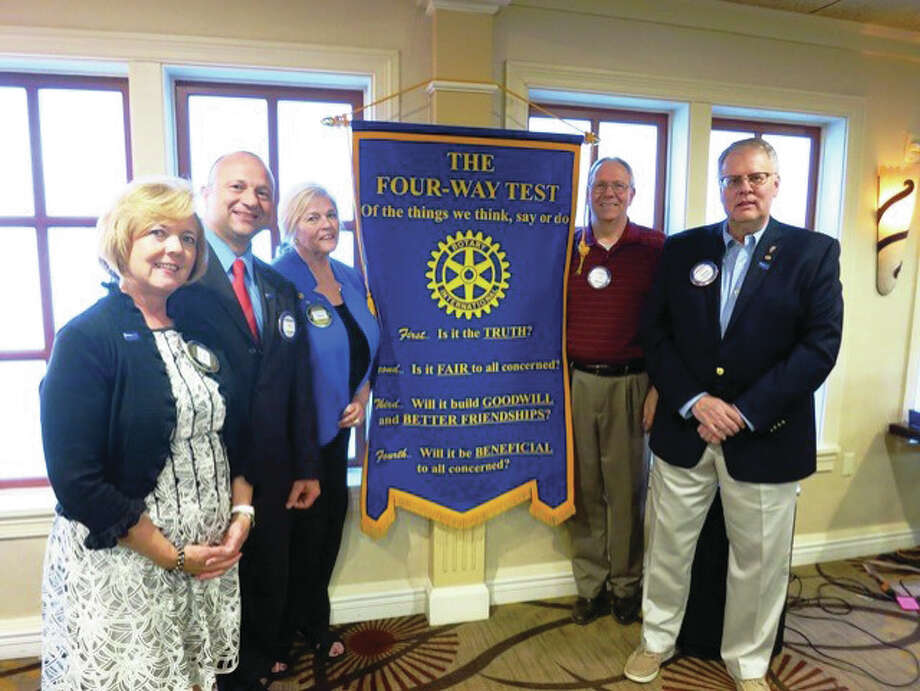 Rotary of the Riverbend recently inducted its 2016-17 officers, left to right, Donna Rice, secretary; Matt Kotzamanis, treasurer; Karen Jackson, president; Reid Mortensen, assistant district governor; Chuck Parr, sergeant-at-arms. Not pictured: Carol Wylie, president-elect. Submitted photo Photo: Submitted Photo