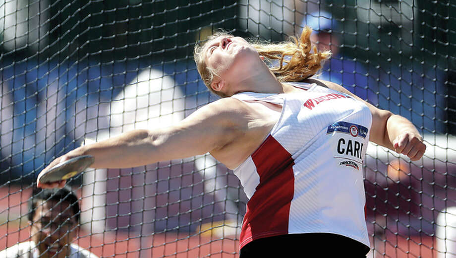 Kelsey Card competes during the final for the women's discus throw at the U.S. Olympic Track and Field Trials, Saturday in Eugene Ore. Card, a graduate of Carlinville High School and the University of Wisconsin, finished third and qualified for the Olympic Team. Photo: Matt Slocum | AP Photo