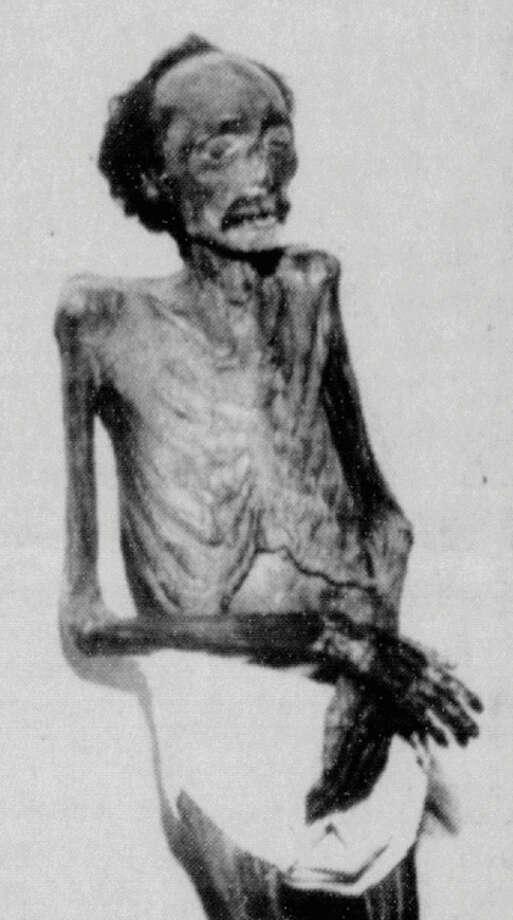 The mummified body of Deaf Bill when it was buried in 1996.