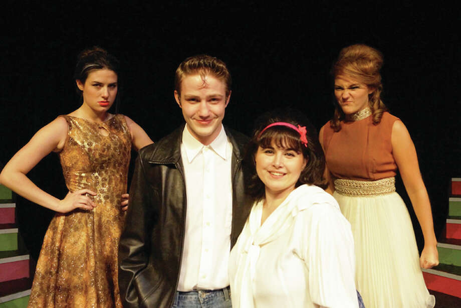 "Southern Illinois University Edwardsville's production of ""Hairspray"" features, from left, Reagan Deschaine (as Velma Van Tussle); Clayton Humburg (Link); Ashley Miller-Melton (Tracy); and Taylor Keel (Amber Van Tussle). Valerie Goldston/For The Telegraph"