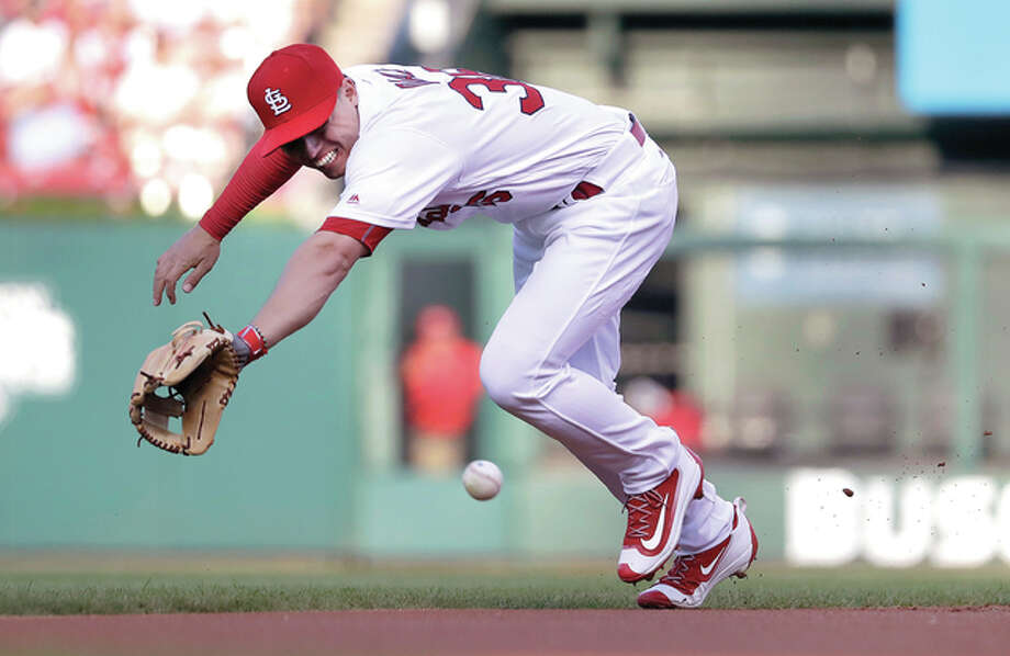 St. Louis Cardinals shortstop Aledmys Diaz dives for but cannot reach a single by Pittsburgh Pirates' Andrew McCutchen during the first inning of a baseball game Tuesday, July 5, 2016, in St. Louis. (AP Photo/Jeff Roberson) Photo: Jeff Roberson | AP Photo