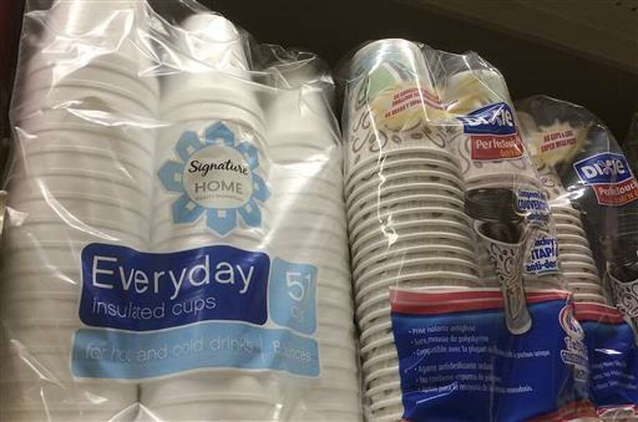 This July 6 photo shows foam cups, left, displayed on a shelf at a market in San Francisco. Consumers won't be able to buy polystyrene kiddie floats, egg cartons, or coolers in San Francisco after supervisors approved what environmentalists are calling the most comprehensive ban in the country on the cheap insulating foam.