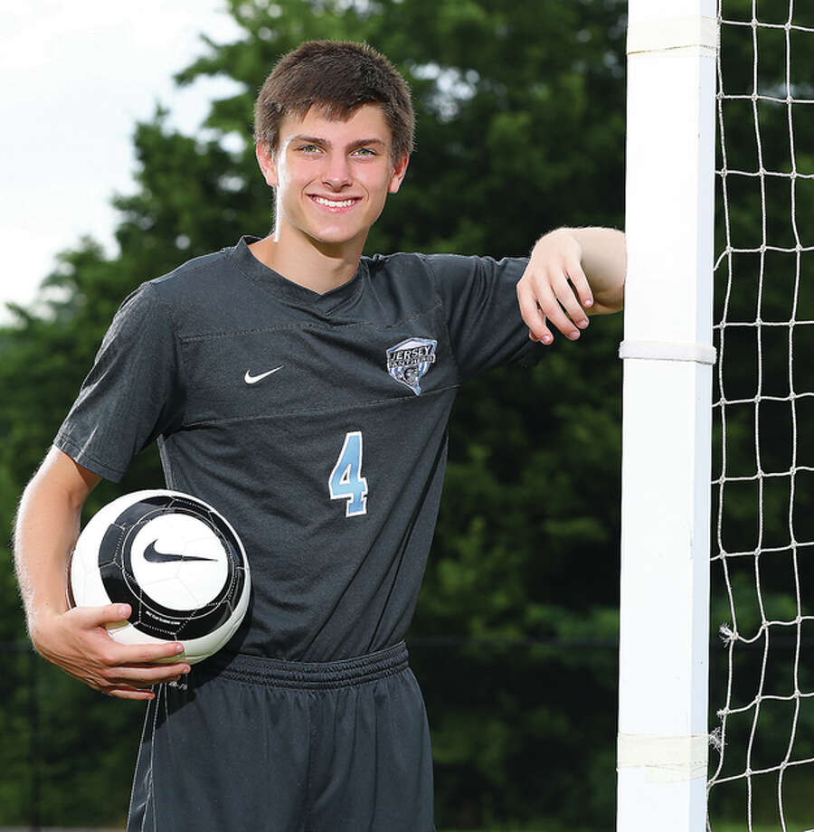 Jake Ridenhour of the Jersey Panthers, who scored 25 goals and added four assists, is the Telegraph's 2015-2016 Small School Boys Soccer Player of the Year. Photo: Billy Hurst | For The Telegraph