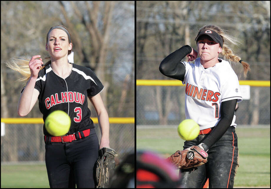 Calhoun's Grace Baalman (left) and Gillespie's Addison Bryant are among the area players scheduled to play in the Illinois vs. Missouri All-Star softball games Wednesday night at Edwardsville. Photo: James B. Ritter / For The Telegraph