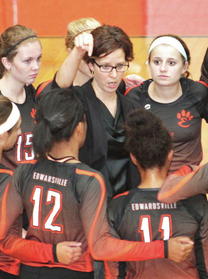 Edwardsville's Jami Parker is the 2015 Telegraph Large-Schools Girls Volleyball Coach of the Year. Photo: James B. Ritter / For The Telegraph