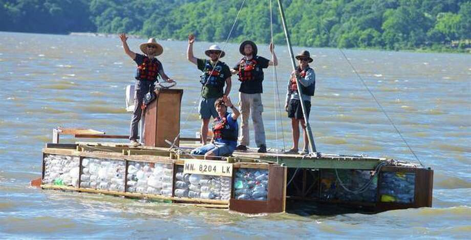 Six men, four of them from overseas, are in the middle of a two-month journey down the length of the Mississippi River on a boat made primarily from discarded plastic bottles.