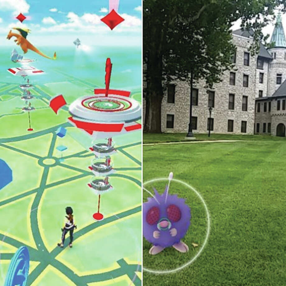 Right, a Pokémon appears on the Godfrey Lewis and Clark Community College campus through the lens of augmented-reality game Pokémon Go. Left, a picture showing game play. Photo: Photo Courtesy Lewis And Clark Community College.