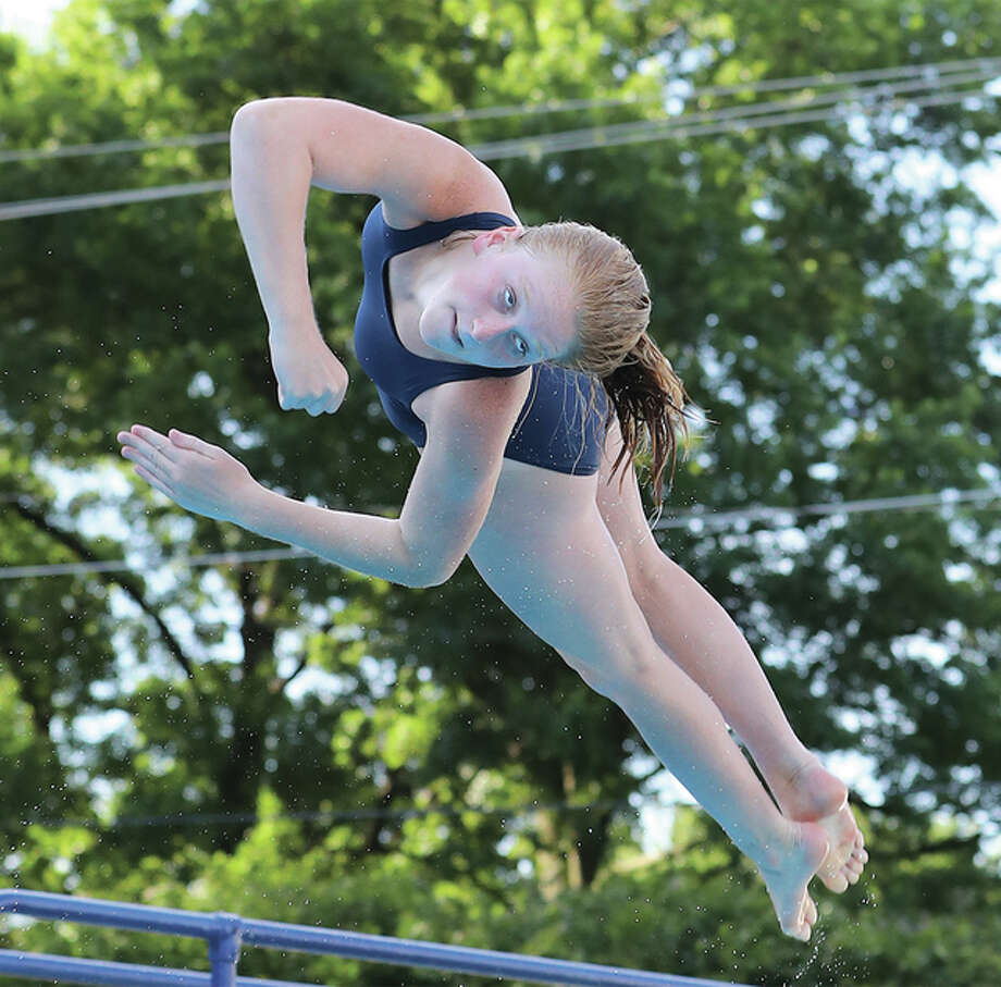 Maggie Evans of Summers Port won the championship of the 13-14 girls age division at Saturday's SWISA Dive Championships in Granite City. Photo: Billy Hurst | For The Telegraph