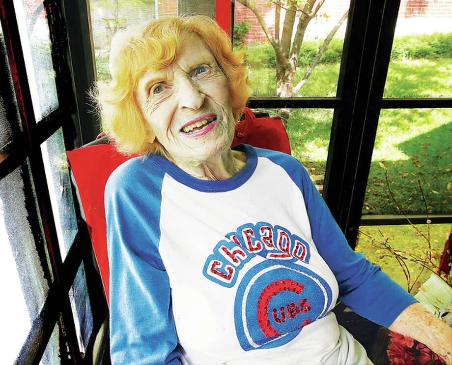 Grace Roglis, 99, of Alton, a die hard Cubs fan, will toss out the first pitch at the Chicago game in Chicago on her 100th birthday, July 18. Photo: John Badman | The Telegraph