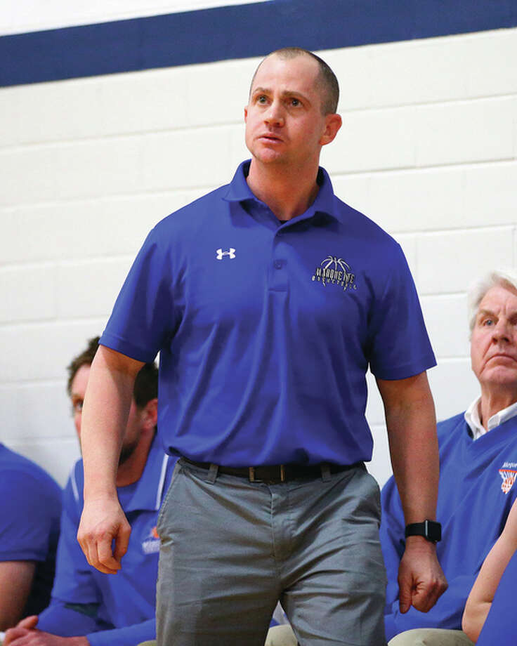 Marquette Catholic coach Steve Medford is the 2016 Telegraph Small-Schools Boys Basketball Coach of the Year. The Explorers' all-time winningest coach led Marquette to a 21-10 record and a Class 2A regional championship. Photo: Billy Hurst / For The Telegraph