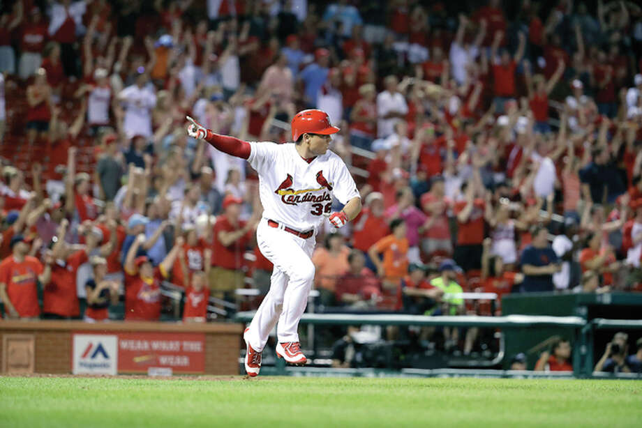 The Cardinals' Aledmys Diaz celebrates after hitting a walk-off single in the bottom of the ninth inning Thursday, leading St. Louis to a 6-5 comeback victory over the San Diego Padres at Busch Stadium. Photo: Jeff Roberson | AP Photo