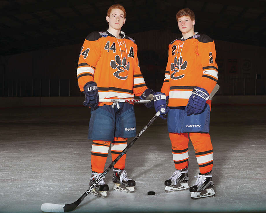 Edwardsville's Tyler Schaeffer, left, and Tyler Hinterser helped Edwardsville to one of its best seasons ever - and are co-Large Schools Hockey layers of the Year. Photo: Billy Hurst | For The Telegraph