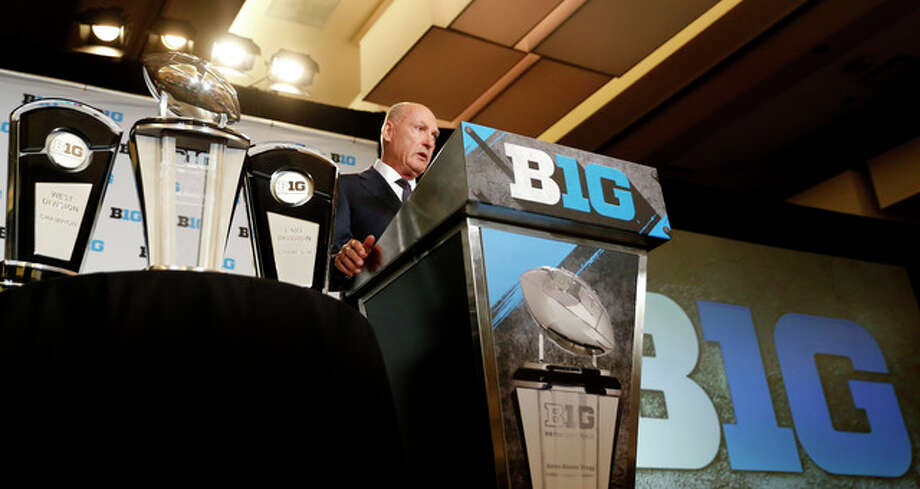 Big Ten commissioner Jim Delany speaks to the media at the Big Ten NCAA college football media days Tuesday in Chicago. Photo: AP Photo