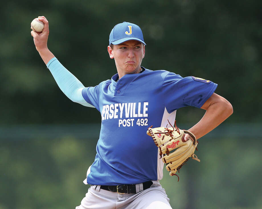 Jerseyville's Drake Kanallakan went eight innings and allowed two earned runs with two walks and seven strikeouts Wednesday night, but dropped a 3-1 decision to Danville in the opening round of the Illinois State American Legion Baseball Tournament at Ken Schell Field in Jerseyville. Photo: James B. Ritter File Photo | For The Telegraph