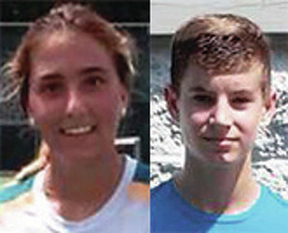 Marta Caballero (left) and Dan McCluskey won 18 singles titles Sunday at the Alton Junior Open.
