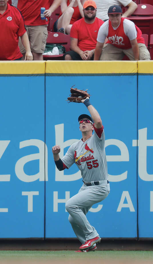 Cardinals right fielder Stephen Piscotty catches an RBI sacrifice fly hit in the fourth inning of the Cards' 7-0 loss to the Reds on Thursday afternoon in Cincinnati. Photo: Associated Press