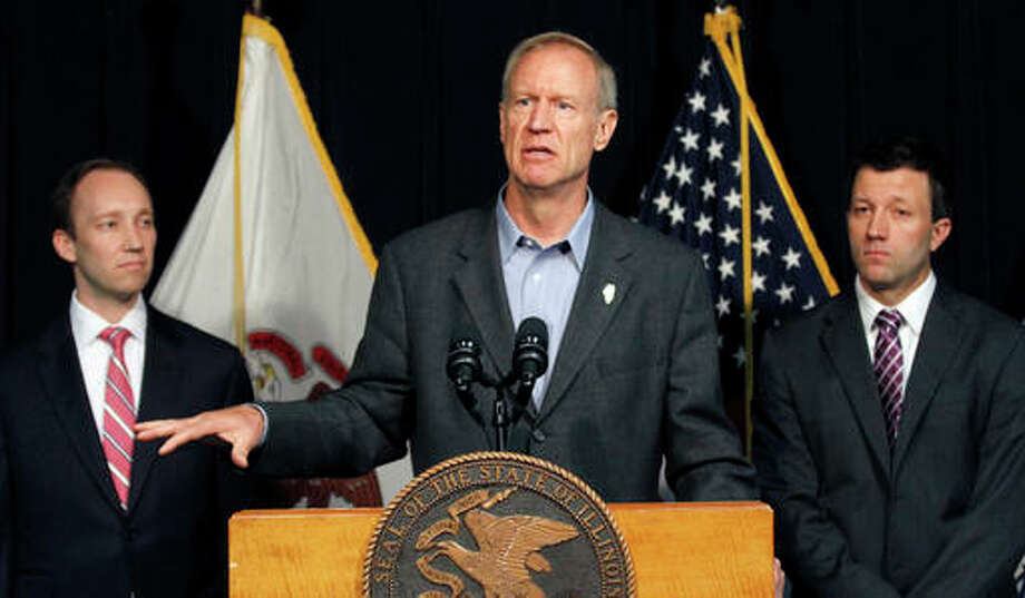 In this July 28 photo Illinois Gov. Bruce Rauner, speaks at a news conference in Chicago. Rauner surprised and angered some lawmakers in his party and conservative groups recently for signing two Democrat-sponsored bills, one extending insurance coverage for nearly all contraceptives and another requiring physicians who refuse to perform abortions for moral and religious reasons to provide information to patients on where they can go for the procedure.