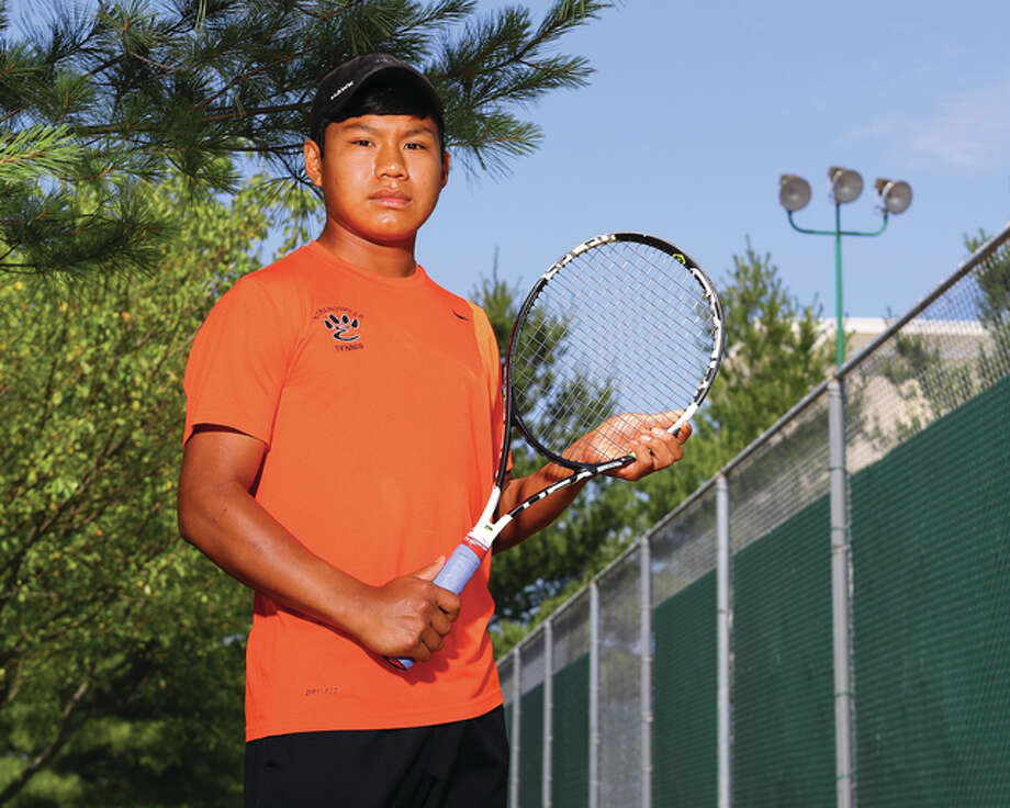 Edwardsville freshman Zach Trimpe is the 2016 Telegraph Boys Tennis Player of the Year. A Southwestern Conference champion in both singles and doubles, Trimpe finished his first season at EHS with a 51-13 record. Photo: Billy Hurst / For The Telegraph