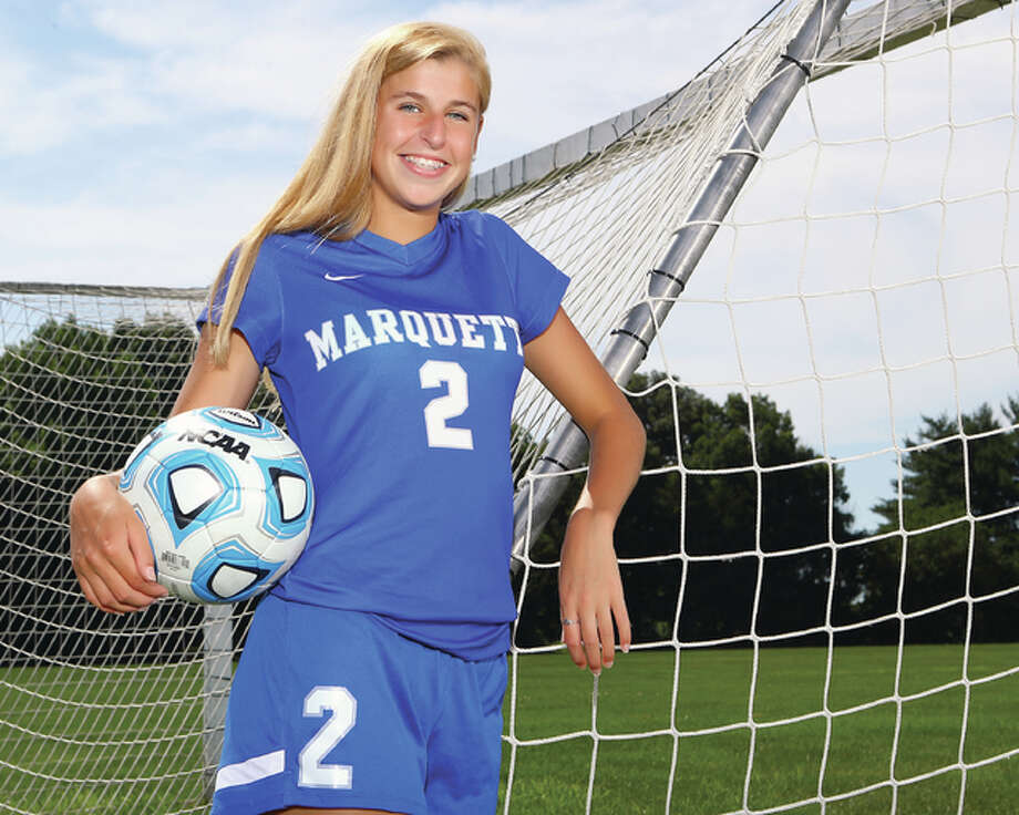 Marquette Catholic junior Annabelle Copeland helped lead the Explorers to the Class 1A State Finals and is the 2016 Telegraph Small-Schools Girls Soccer Player of the Year. She has verbally committed to Saint Louis University. Photo: Billy Hurst | For The Telegraph