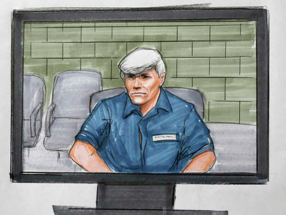 In this Tuesday, Aug. 9, 2016 courtroom sketch, former Illinois Gov. Rod Blagojevich, right, appears via video from a Colorado prison during his re-sentencing in a federal courtroom in Chicago. (AP Photo/Tom Gianni)
