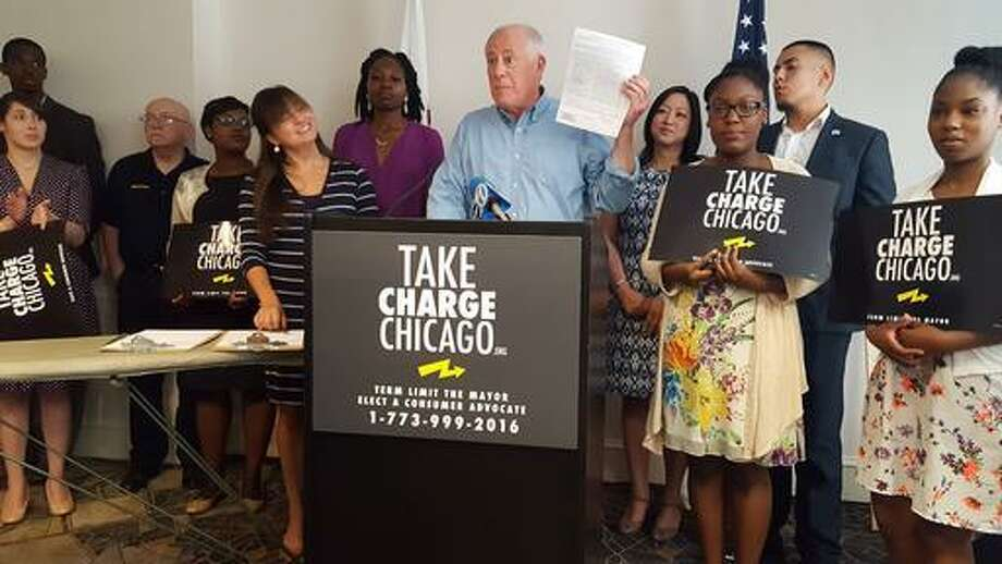 In this June 12, 2016, file photo, former Illinois Gov. Pat Quinn, center, kicks off a petition drive to put a two-term limit on Chicago's mayor, and to create an elected citywide consumer advocate position in Chicago. Quinn said Monday, Aug. 8, 2016, the voter referendum will not make the November ballot. Quinn told The Associated Press he's short of the roughly 53,000 signatures required by the Monday deadline.