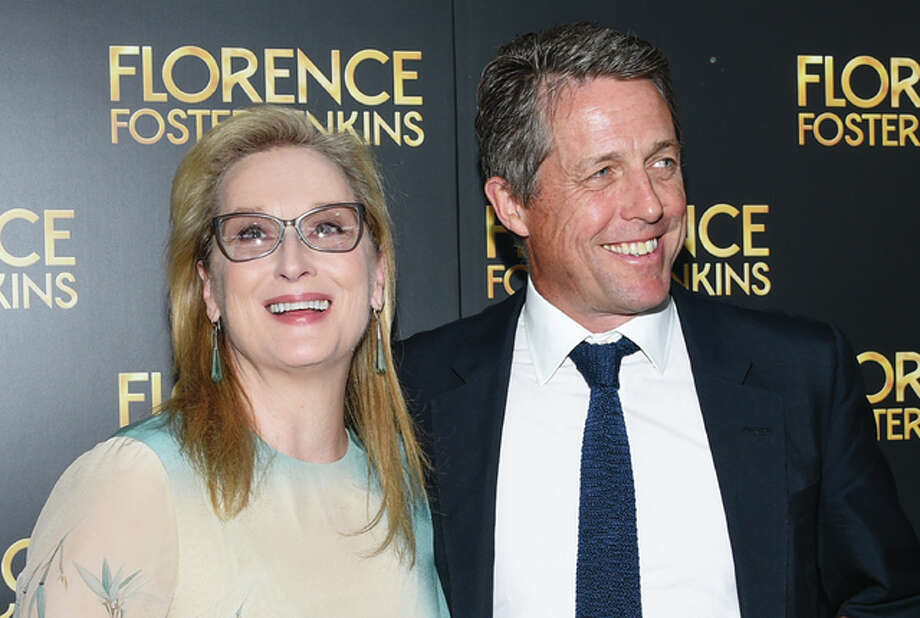 "Actors Meryl Streep, left, and Hugh Grant attend the premiere of ""Florence Foster Jenkins"" at AMC Loews Lincoln Square on Tuesday, Aug. 9, in New York."