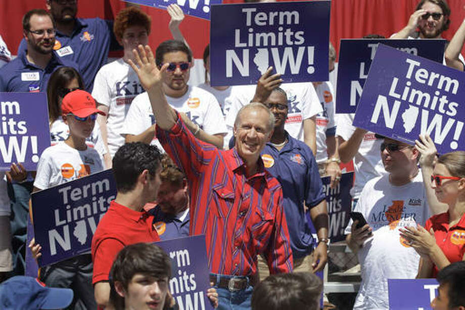 Illinois Gov. Bruce Rauner participates in a Republican rally during Governors Day at the Illinois State Fair Wednesday in Springfield. Republicans are pushing the idea of term limits for politicians even though the issue couldn't appear on the ballot for two years.