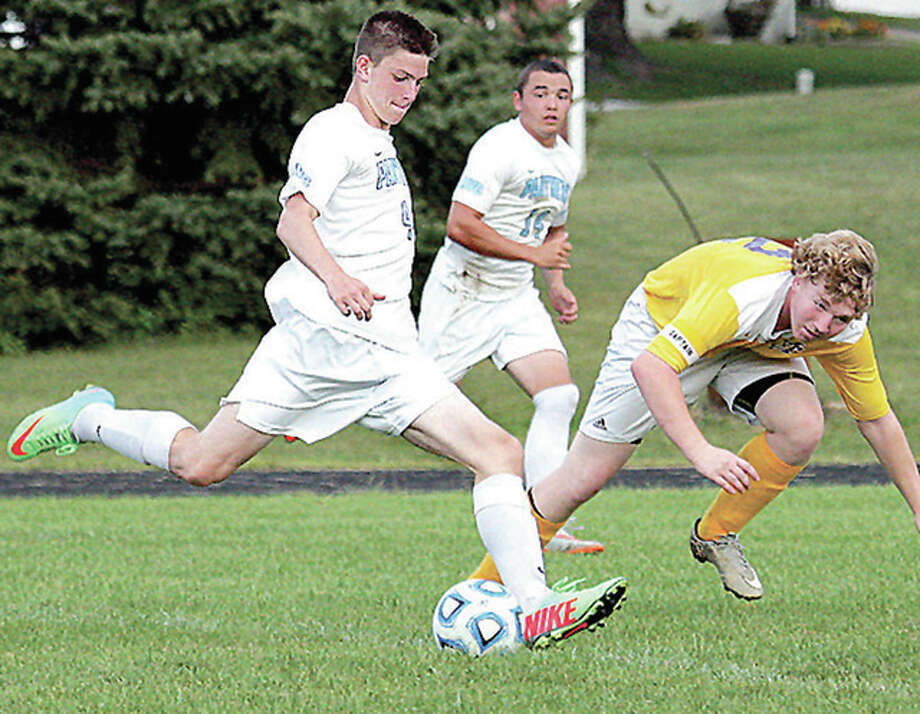 Jersey's Jacob Ridenhour, left, shown in action last season against CM's Jake Webb, returns for his senior season. Ridenhour scored 25 goals and added four assists last season for the Panthers and was named the 2015 Telegraph Player of the Year. Photo: James B. Ritter File Photo | For The Telegraph