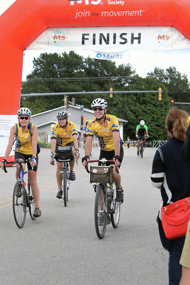 Every year, bicyclists cross the finish line with smiles and a sense of accomplishment. Photo: Photos Courtesy Of Lewis And Clark Community College|For The Telegraph