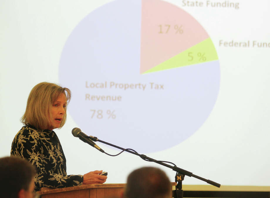 Edwardsville School District Superintendent Lynda Andre talks about the district's financial situation at Monday's school board meeting. The board approved seeking a 55 cent increase in the education fund tax rate in the Nov. 8 meeting.