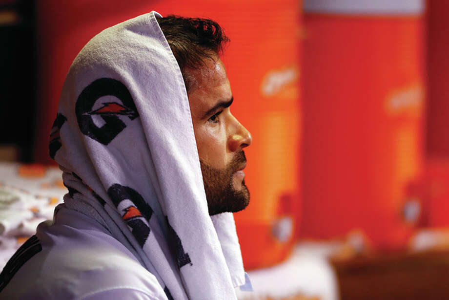 Cardinals starting pitcher Jaime Garcia looks on from the dugout after leaving the game during the fifth inning against the New York Mets on Tuesday night at Busch Stadium. Photo: Billy Hurst / Associated Press