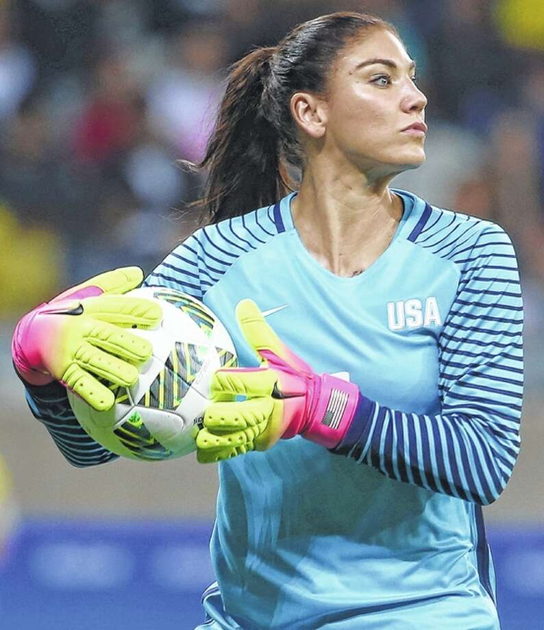 U.S. women's goalkeeper Hope Solo was suspended Wednesday for six months by U.S. Soccer for disparaging comments about Sweden following the Americans' early departure from the Rio Olympics. Photo: AP