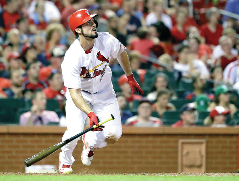 The Cardinals' Randal Grichuk watches his solo home run in the fourth inning Wenesday against the New York Mets in St. Louis. Photo: Jeff Roberson | AP